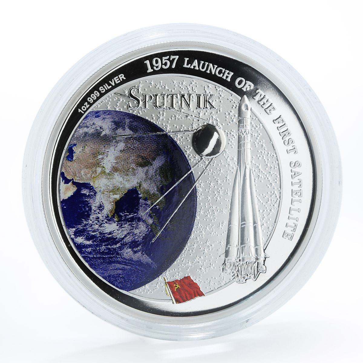 Fiji $2 Sputnik 1957 Launch of the First Satellite 1 Oz Silver coin 2007