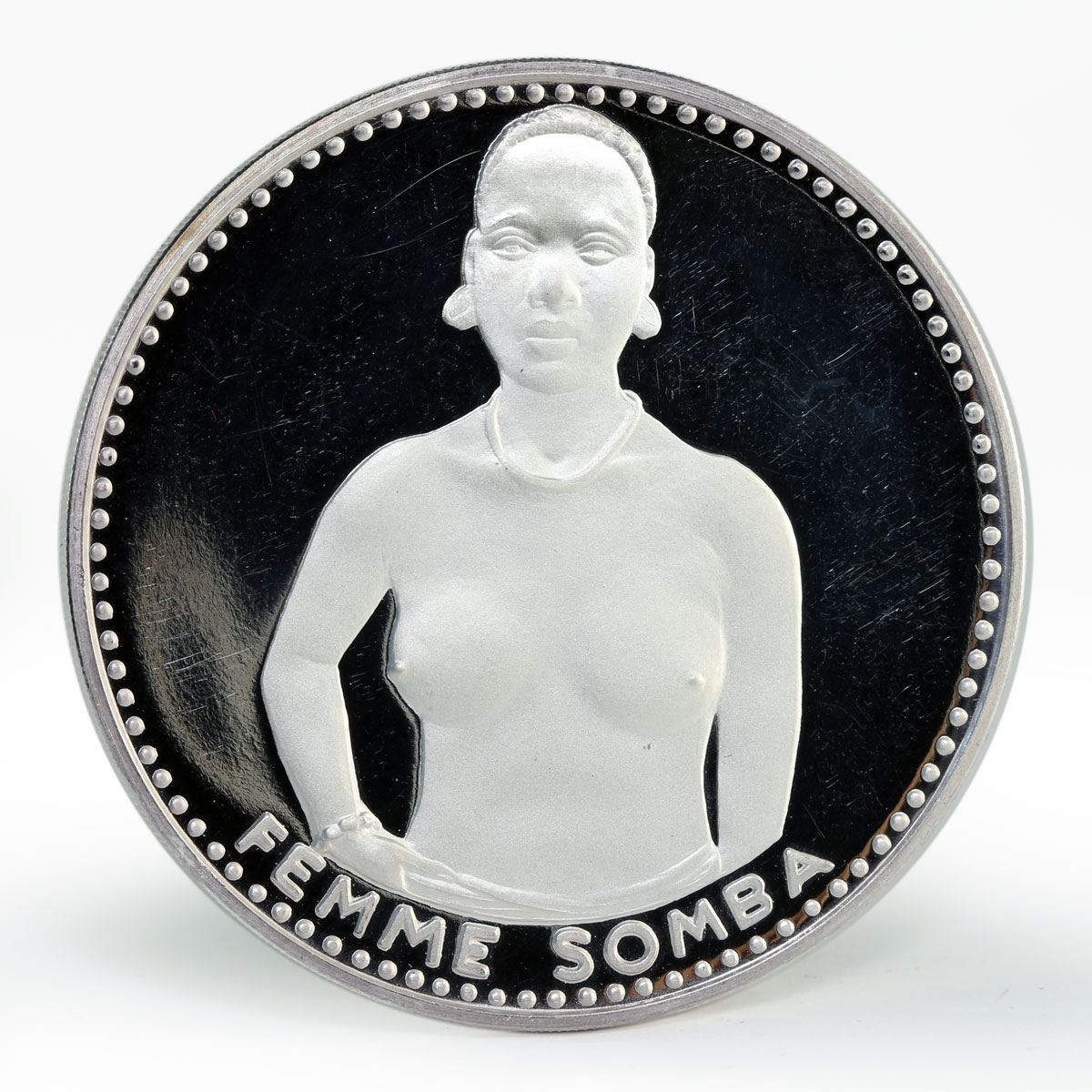 Dahomey 1000 francs 10th of Independence Somba Woman silver coin 1971
