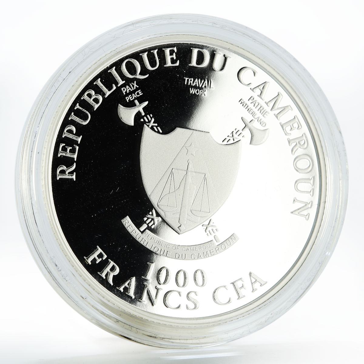 Cameroon 1000 francs Year of the Dragon gilded silver coin 2012