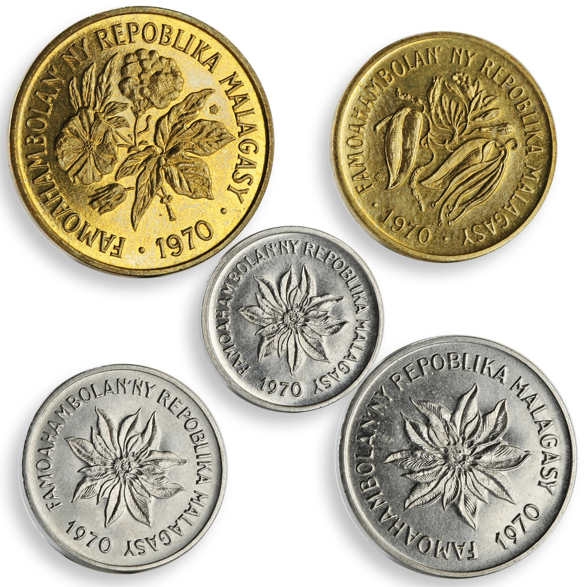 Madagascar set of 5 coins 10th Anniversary of Independence aluminium-bronze 1970