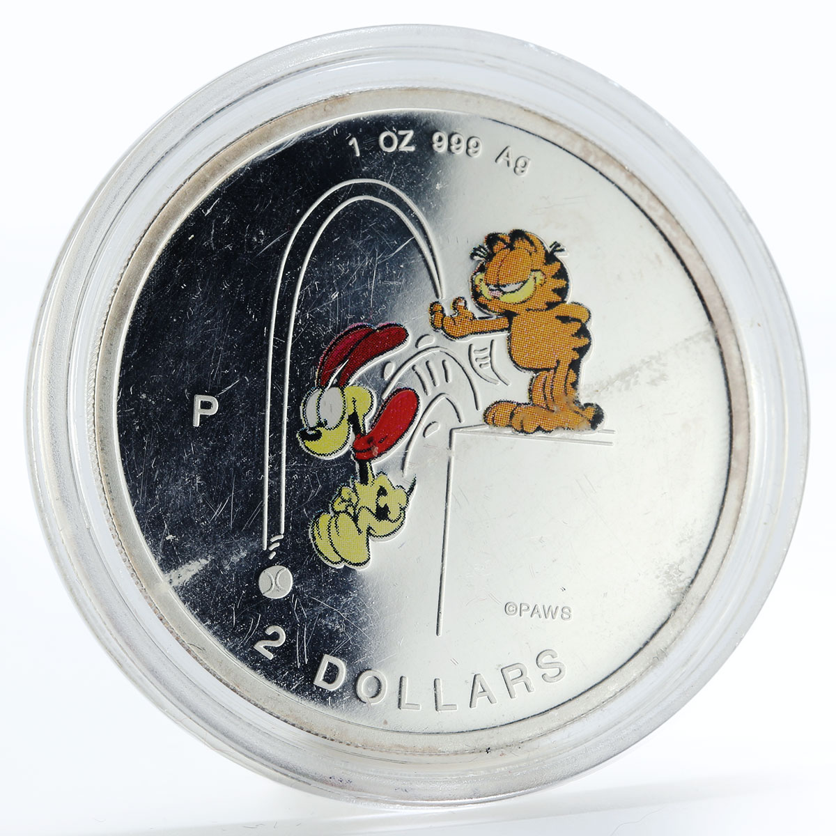 Cook Islands 2 dollars Cat Garfield and dog colored silver coin 1999