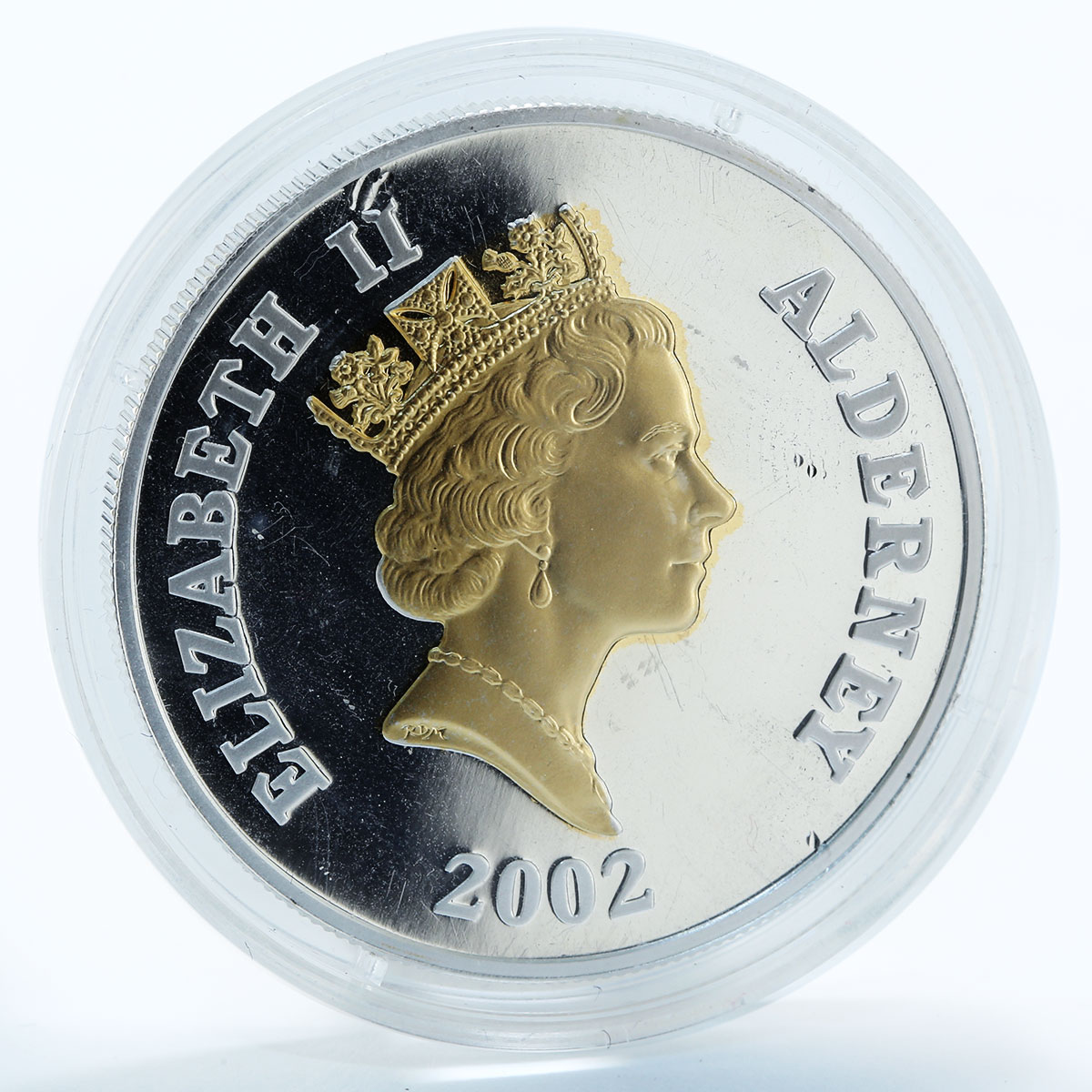 Alderney 5 pounds Golden Jubilee gilded silver proof coin 2002