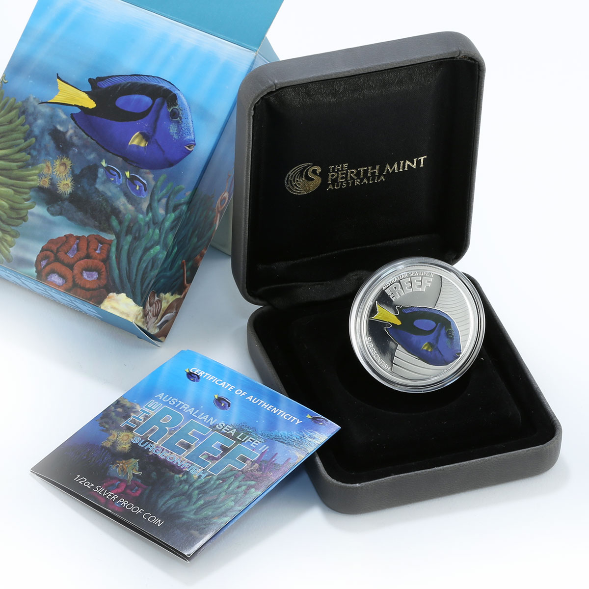 Australia 50 cents Marine Life II Surgeonfish silver colored proof 2012