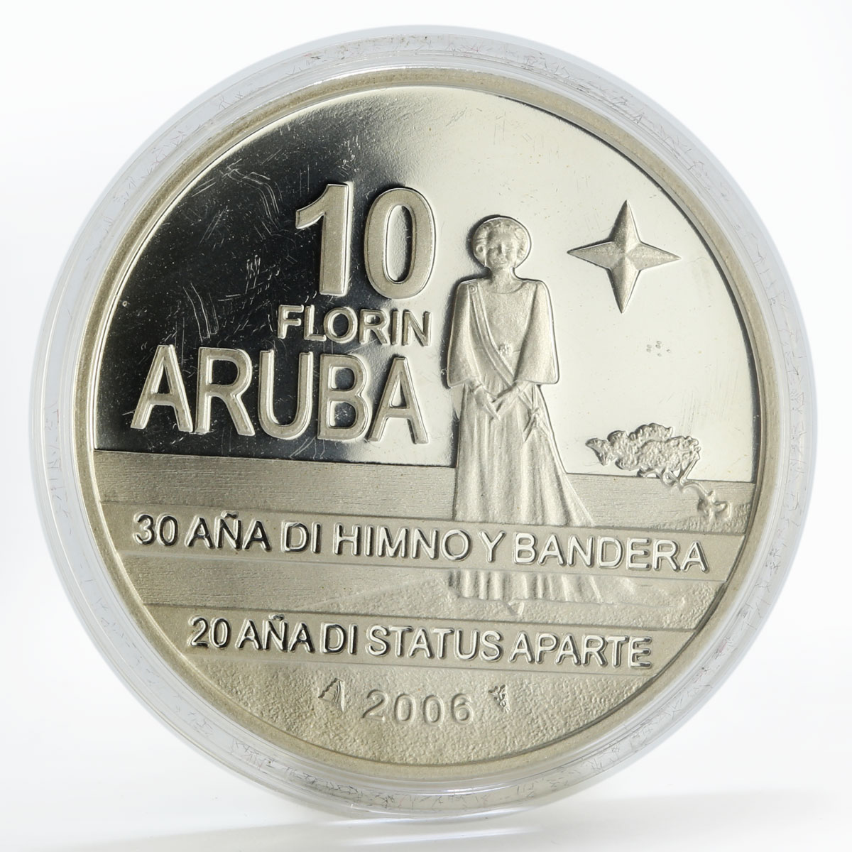 Aruba 10 florin Anniversary Flag Anthem Status Aparte proof silver coin 2006