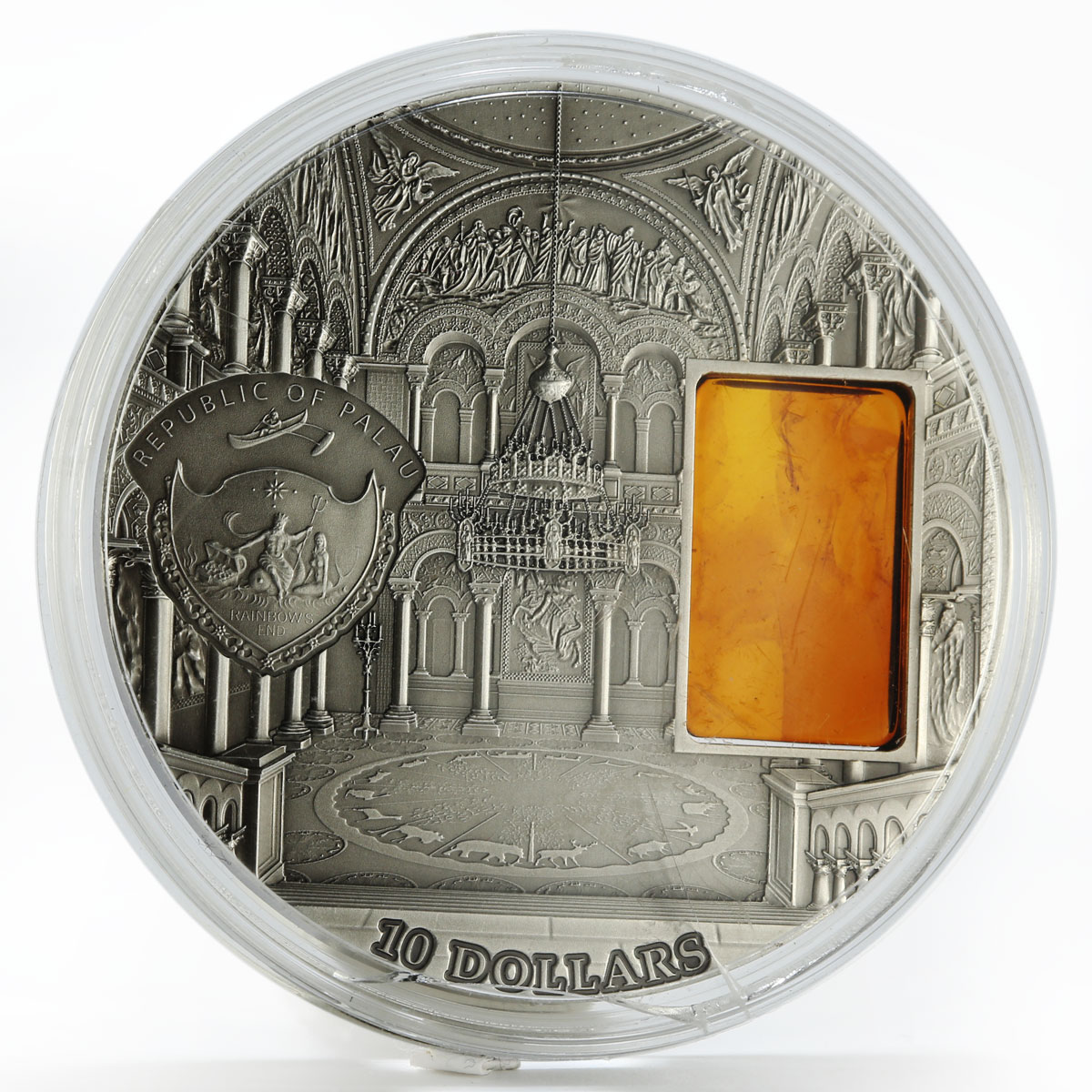 Palau 10 dollars Neuschwanstein Castle with amber silver coin 2011