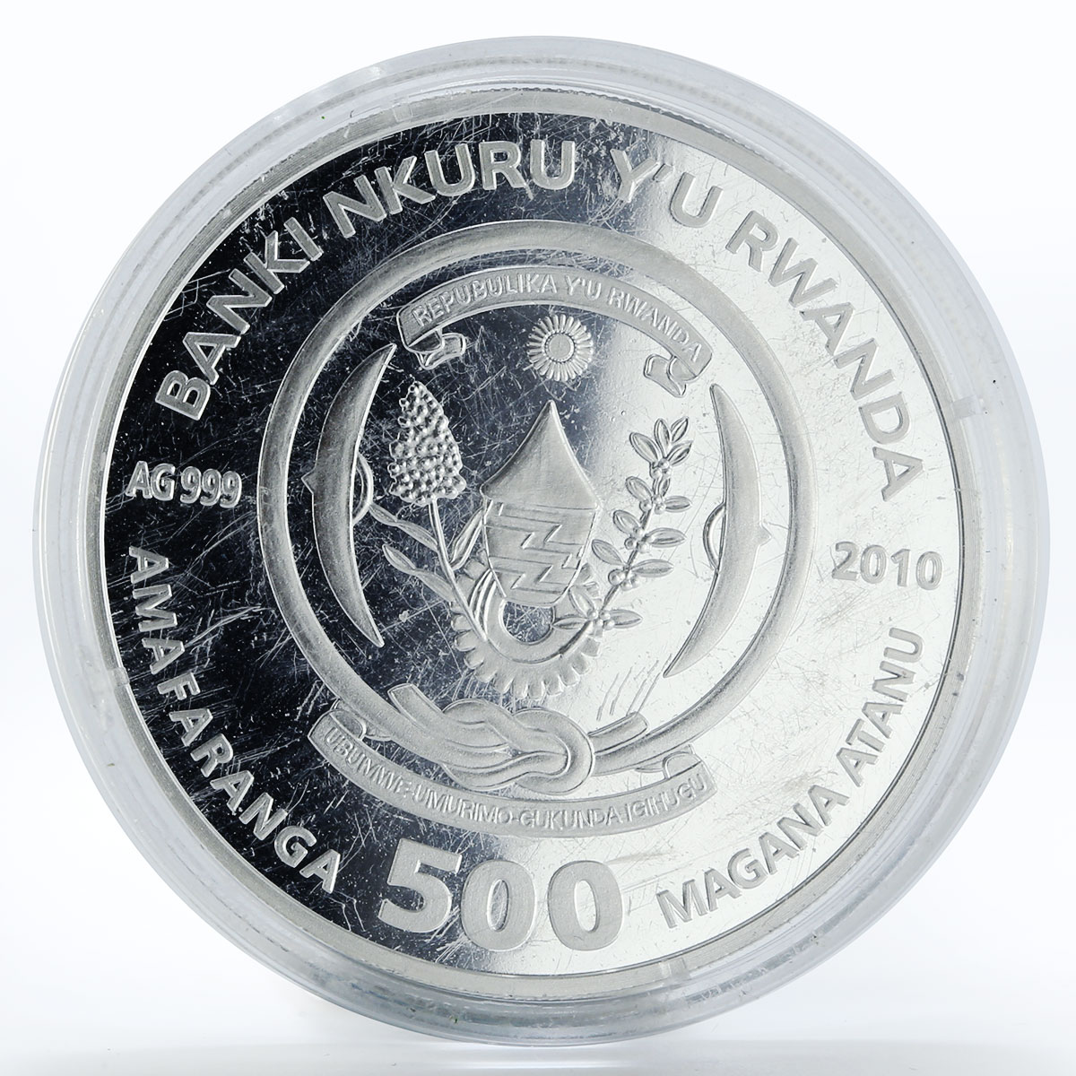 Rwanda 500 francs Chelonia Mydas turtle colored silver coin 2010