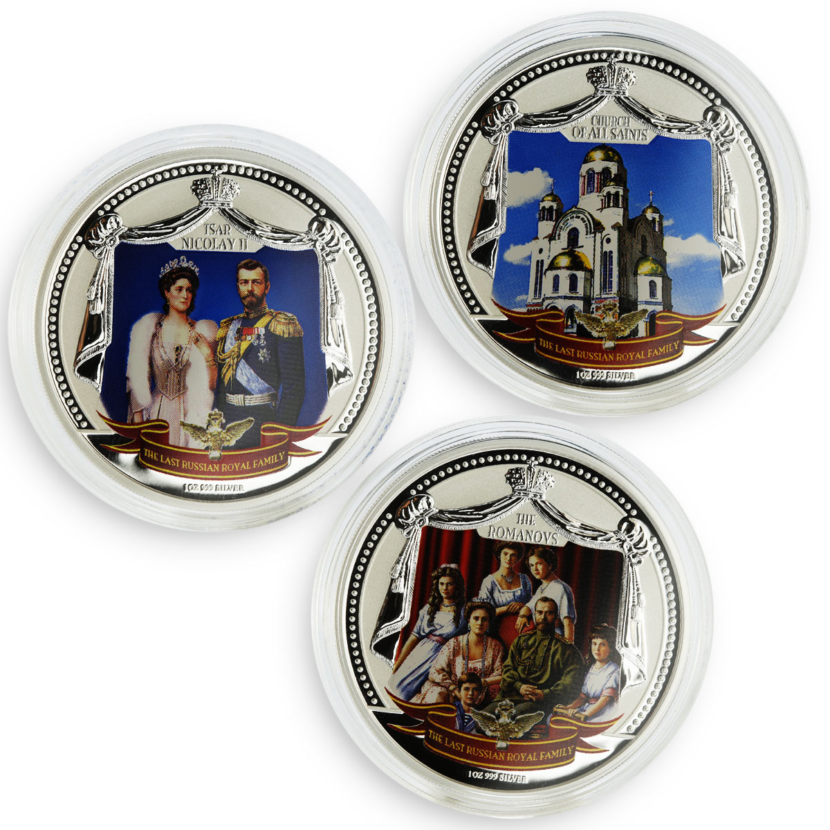 Fiji set 3 coins The Last Russian Royal Family Romanovs colored silver 2009