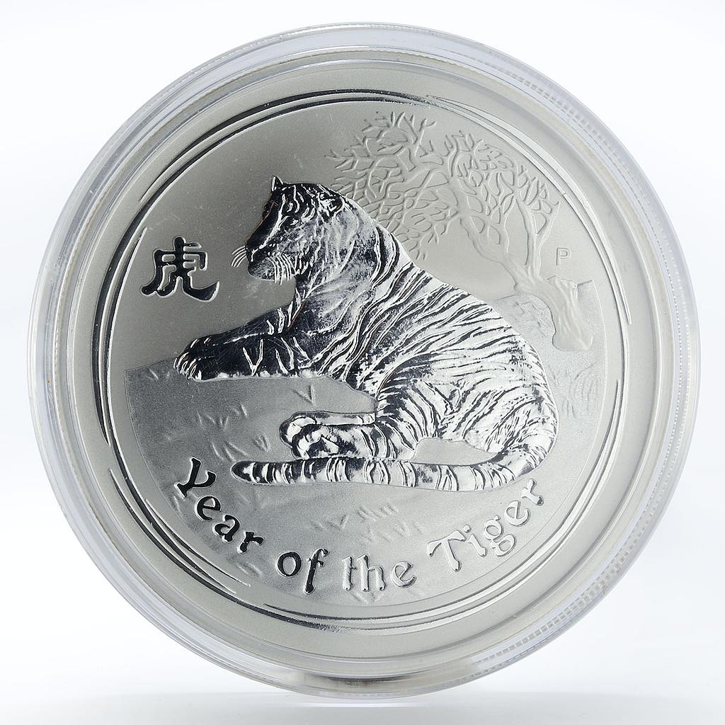 Australia 2 dollars Year of the Tiger Lunar Series I 2 oz Silver coin 2010