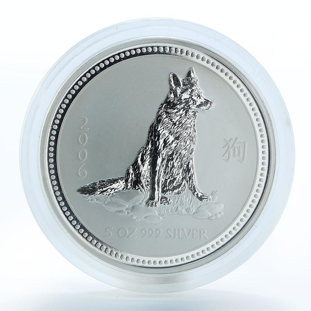 Australia 8 dollars Year of the Dog Lunar Series I 5 oz Silver Coin 2006