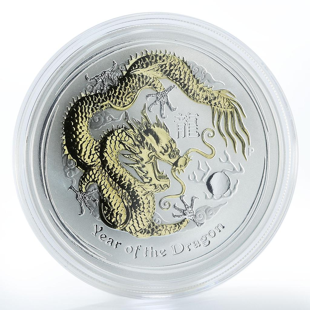 Australia 1 dollar Year of Dragon Series 2 1 oz silver gilded coin, 2012
