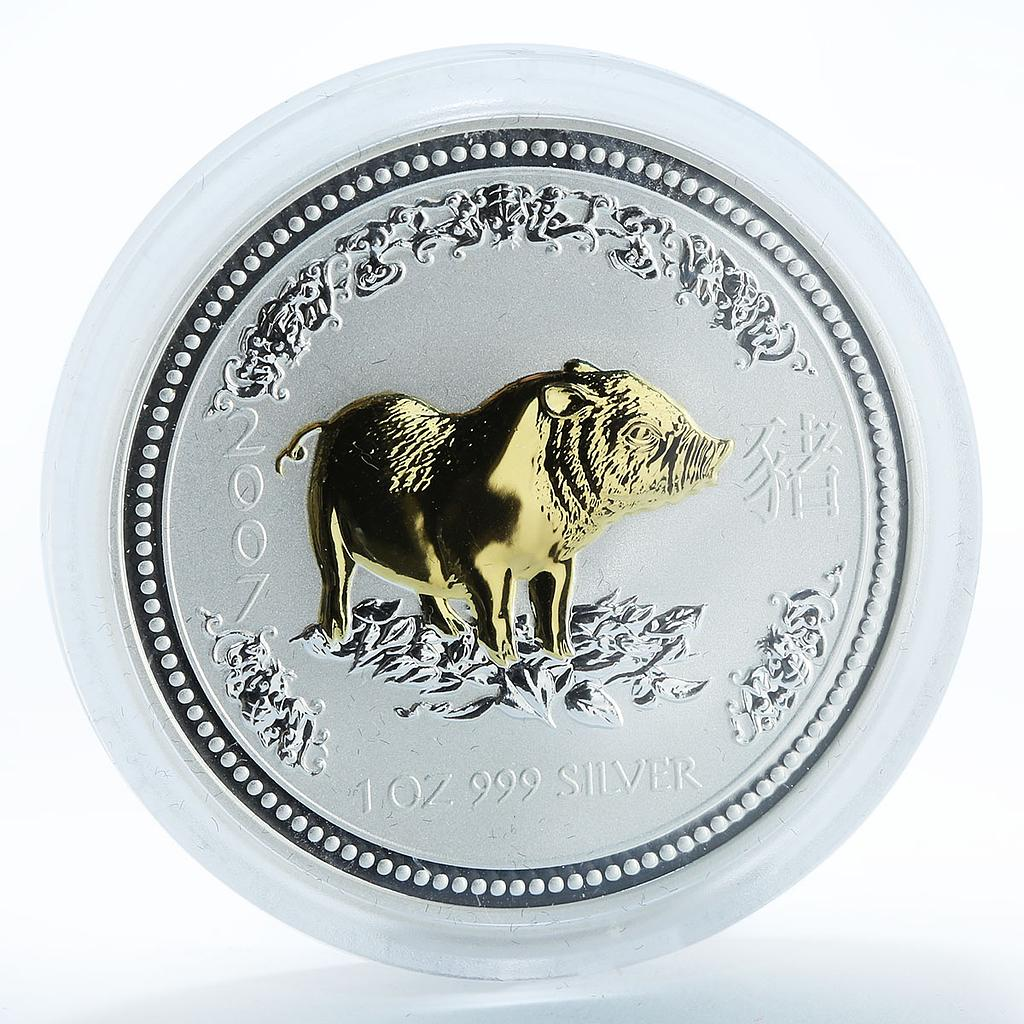 Australia $1 Year of the Pig Gilded Lunar Series I 1 Oz Silver coin 2007
