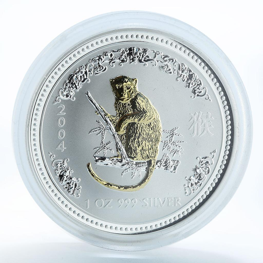 Australia 1 dollar Year of the Monkey Lunar Series I Silver Gilded Coin 1oz 2004