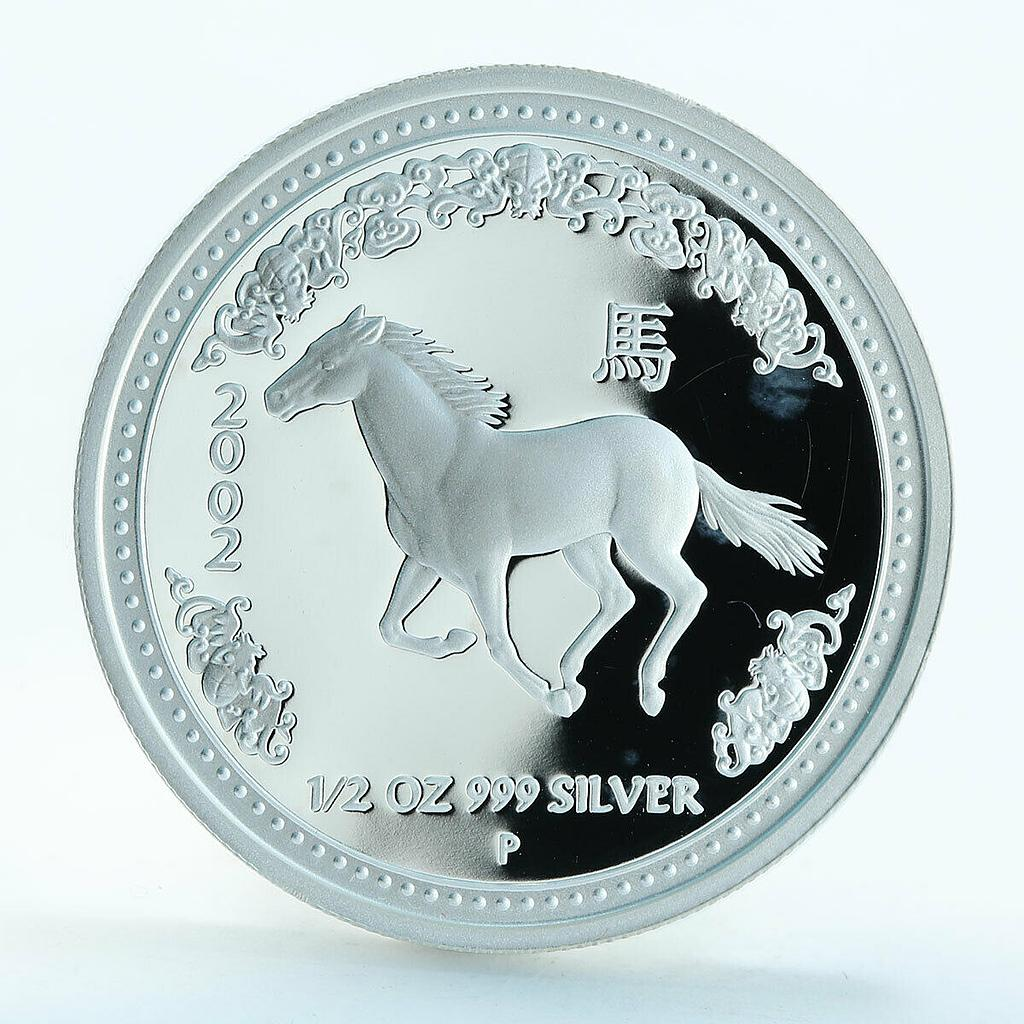 Australia 50 cent Year of the Horse Lunar Series I silver proof coin 1/2 oz 2002