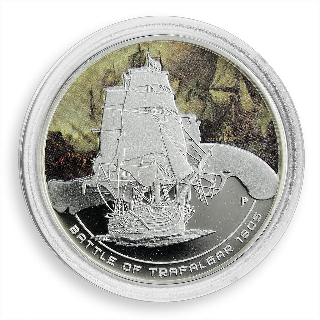 Cook Islands 1 dollar Famous Battles Naval Trafalgar 1805 Coloured Proof 2010