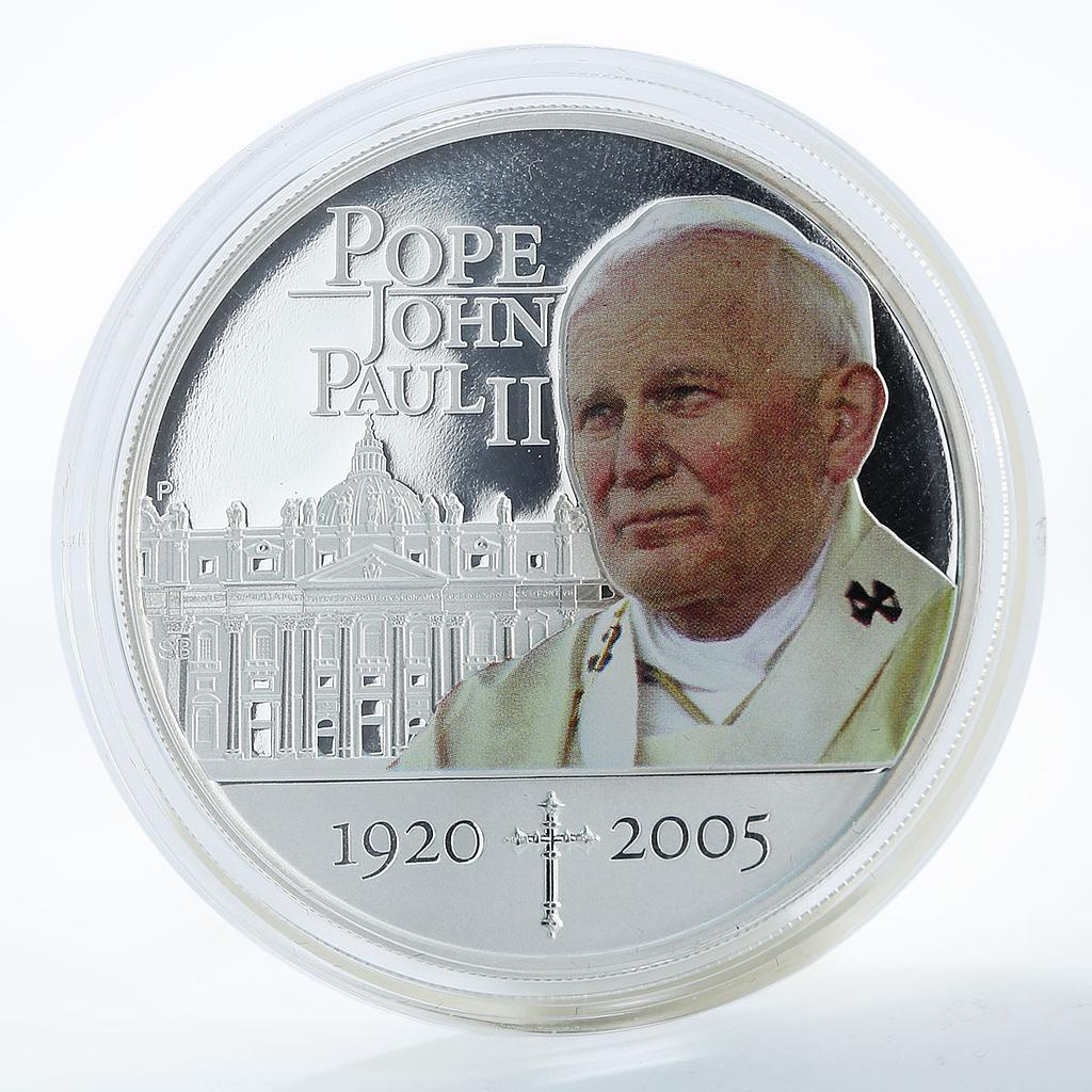Cook Islands 1 dollar Pope John Paul II 1920-2005 Silver Coloured Proof 2005