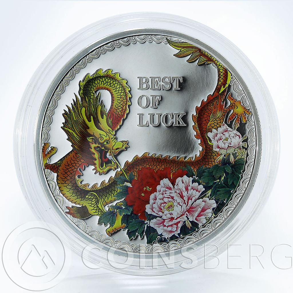 Cook Islands, $5, Year of the Dragon Best of Luck1oz Silver Colored coin 2012