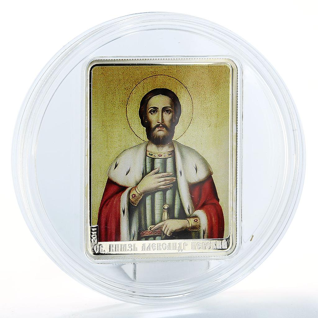 Cook Islands 5 dollars Saints St. Alexander Nevsky silver proof color coin 2011
