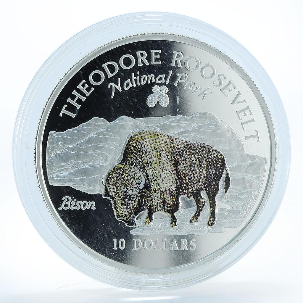 Cook Islands 10 dollars Theodore Roosevelt National Park Bison silver coin 1996