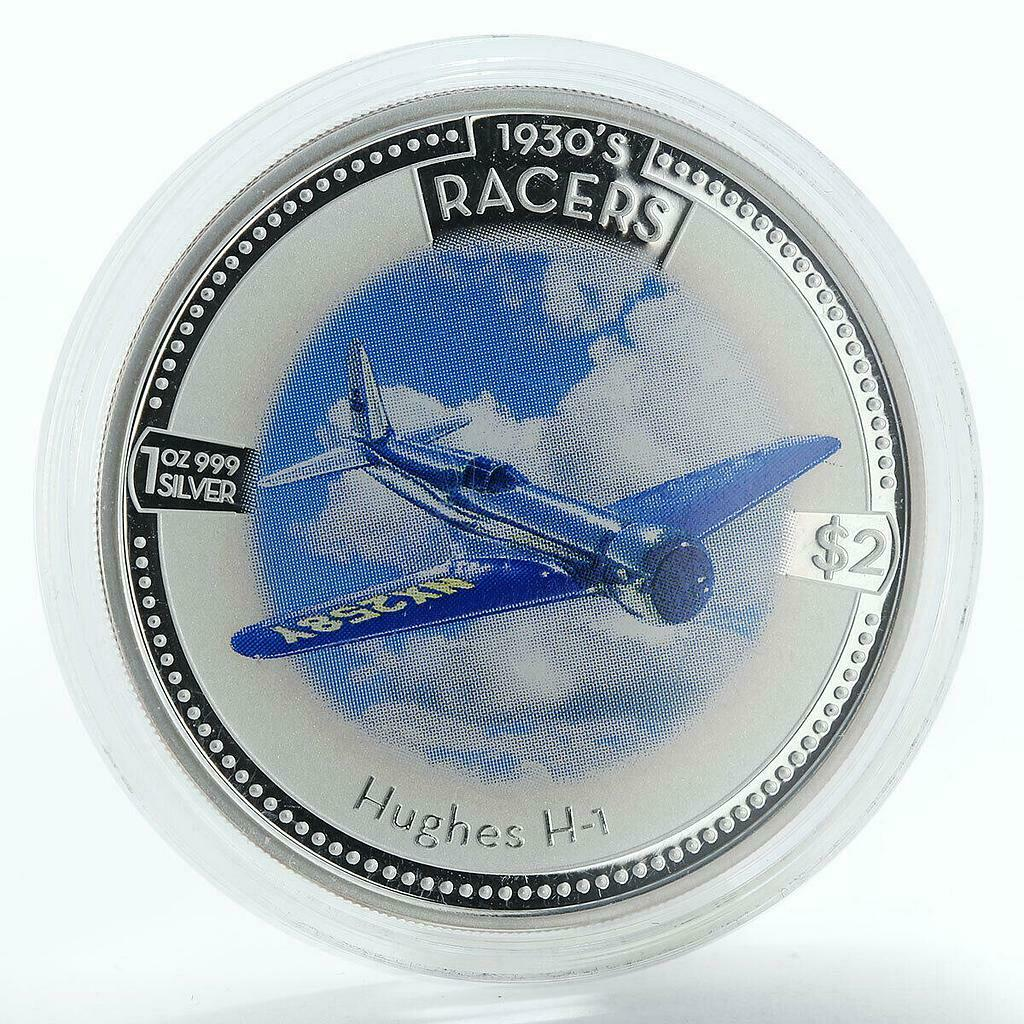 Cook Islands 2 dollars Hughes H-1 Racer proof silver coin 2006