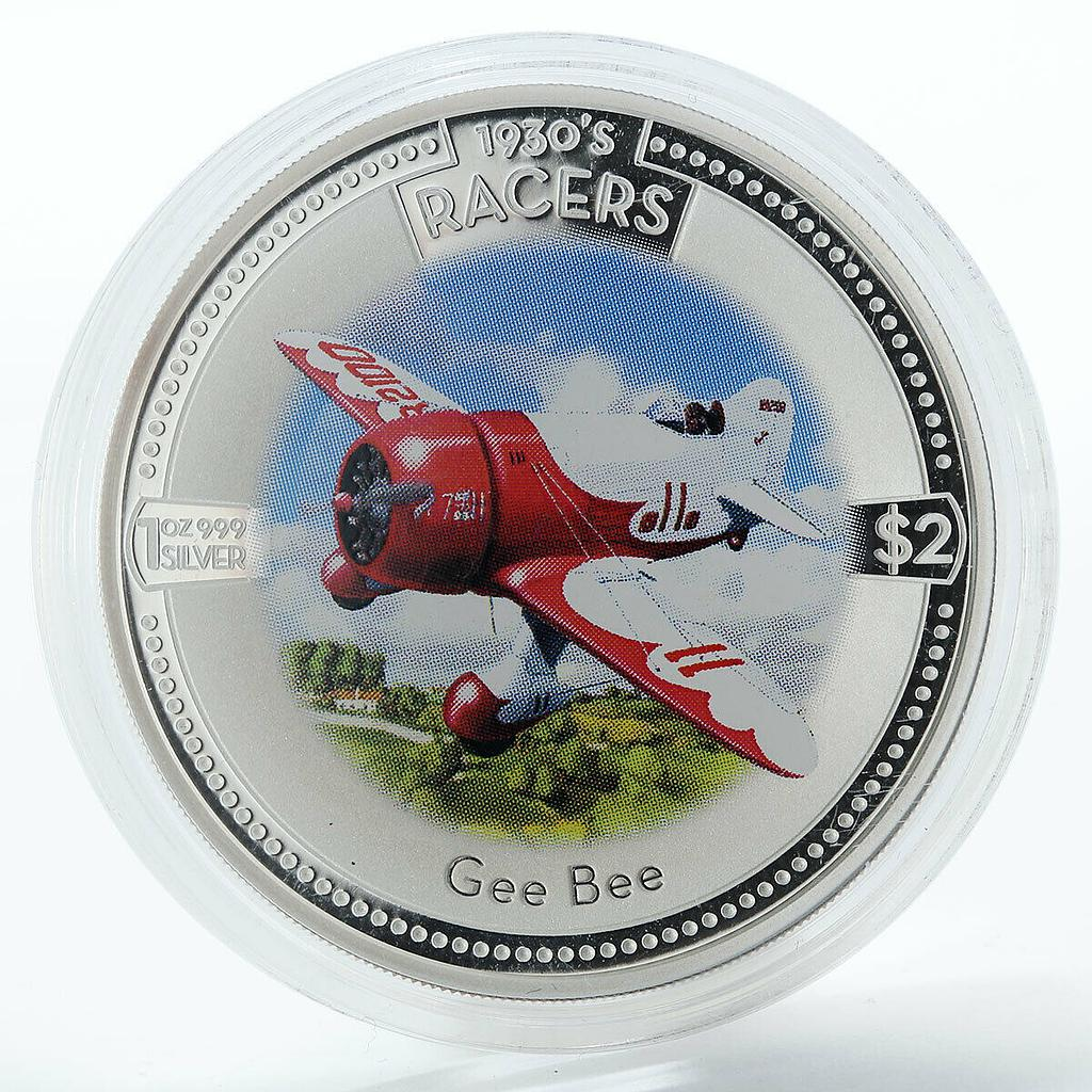 Cook Islands 2 dollars Gee Bee Model R proof silver coin 2006