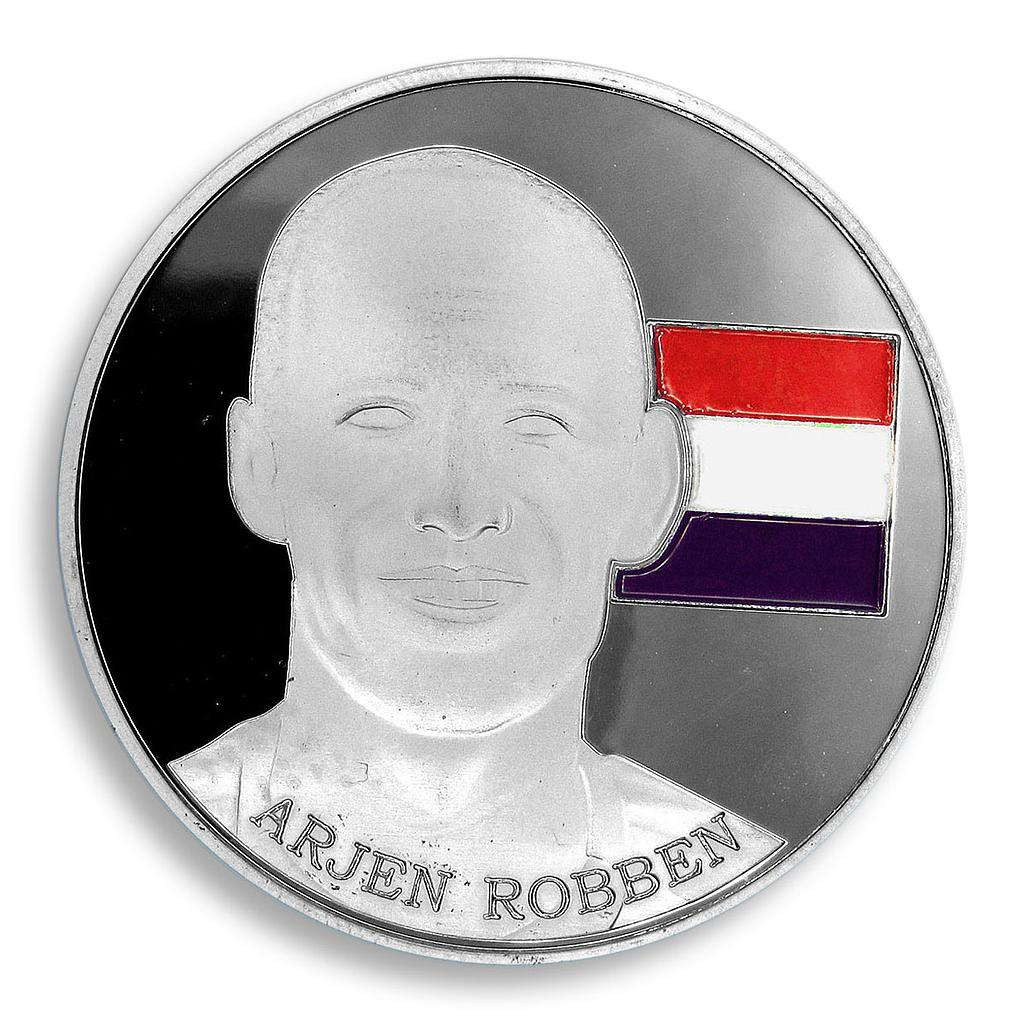 Football World Cup 2014, Robben, Brazil, FIFA, Colorized, Silver Plated, Token