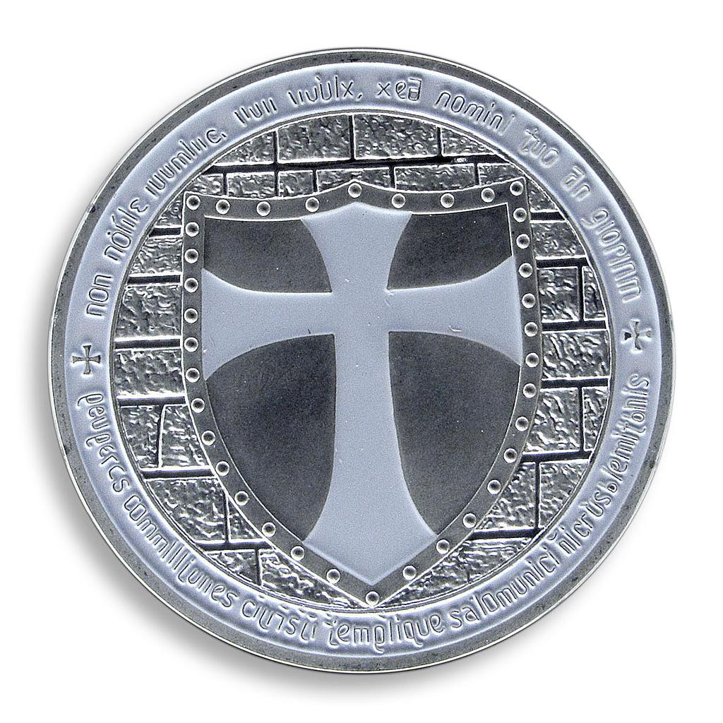 Masonic Knights Templar, White Cross, Silver Plated coin, Token, Souvenir