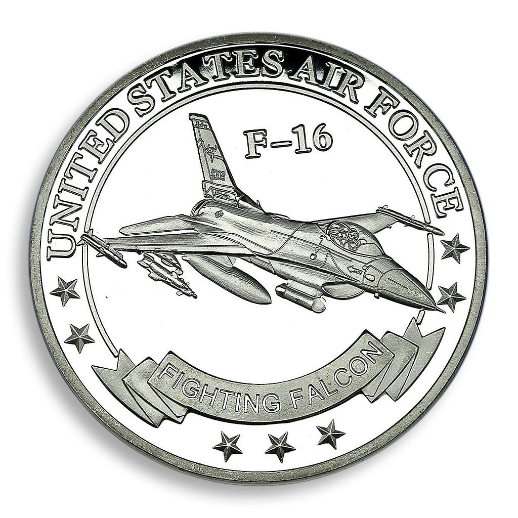 United States Airforce F-16 Falcon fighter Army coloured Medal Token Coin