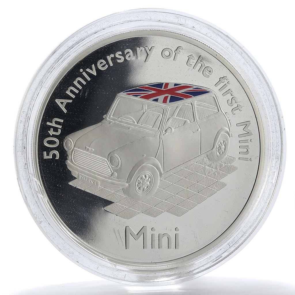 Alderney 10 Pounds 50th Anniversary of the Mini proof silver coin 2009