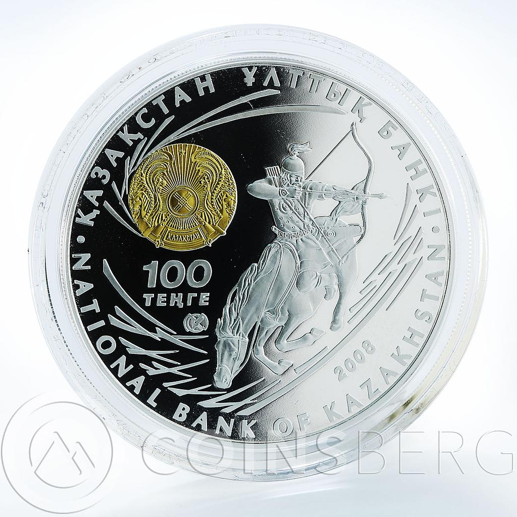 Kazakhstan 100 tеnge Chingiz Khan Great сommanders silver proof 1 oz coin 2008