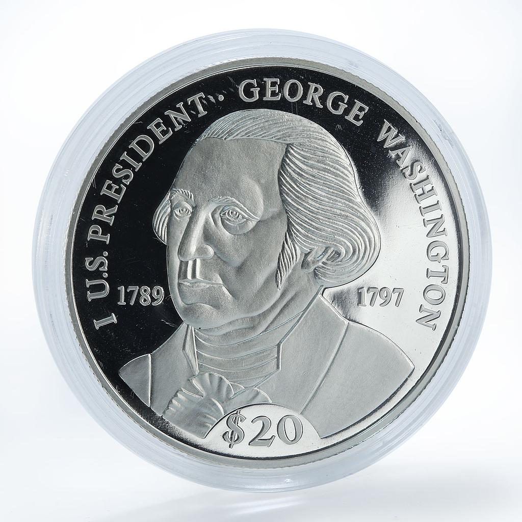 Liberia 20 dollars 1st US President George Washington silver proof coin 2000