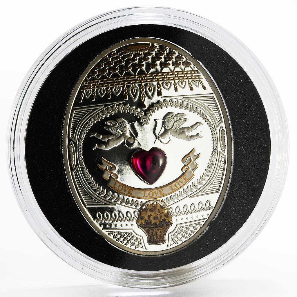 Niue 1 dollar Faberge egg love cupids silver coin 2011