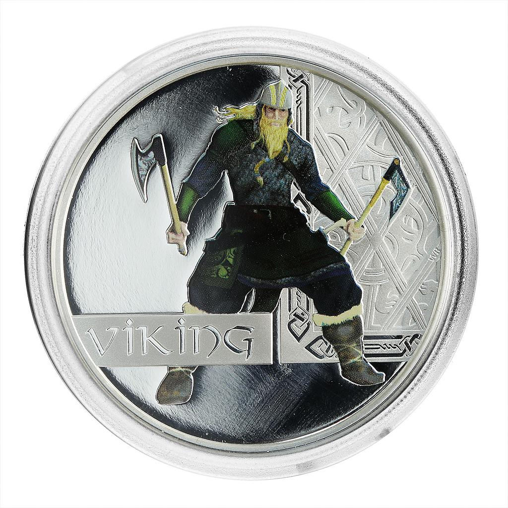 Tuvalu 1 dollar the Great Warriors series Viking Silver Coloured Proof Coin 2010