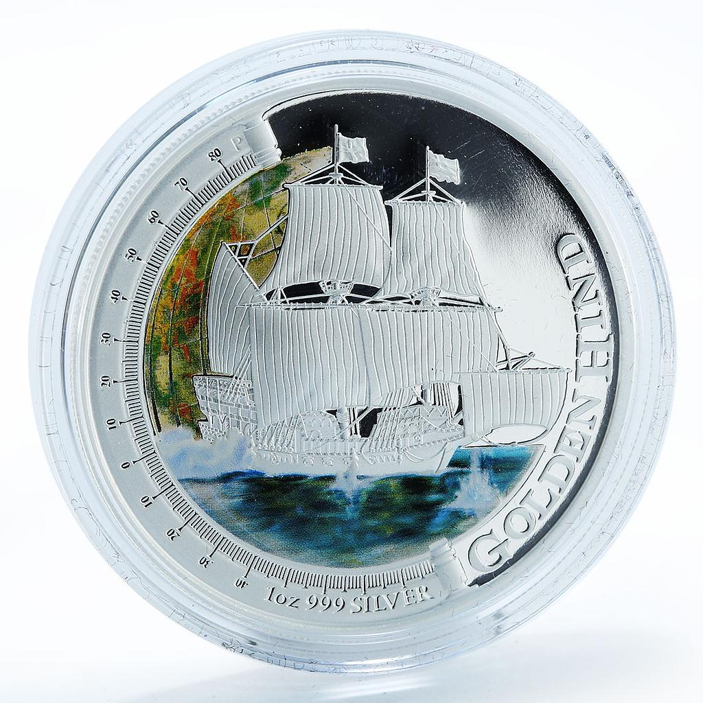 Tuvalu 1 Dollar Ship Golden Hind silver proof colorized coin 2011