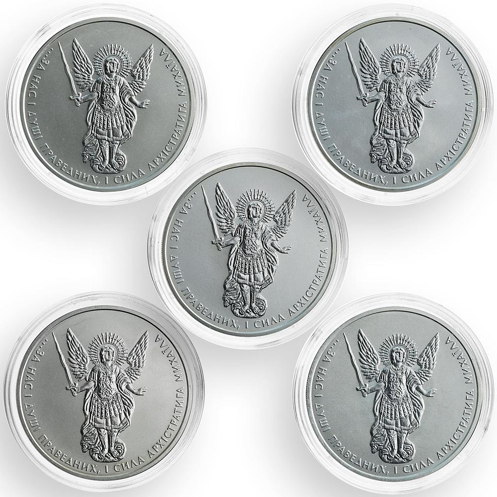 Ukraine 1 hryvnia, set of 5 coins, Archangel Michael, silver coins, 2011-2015