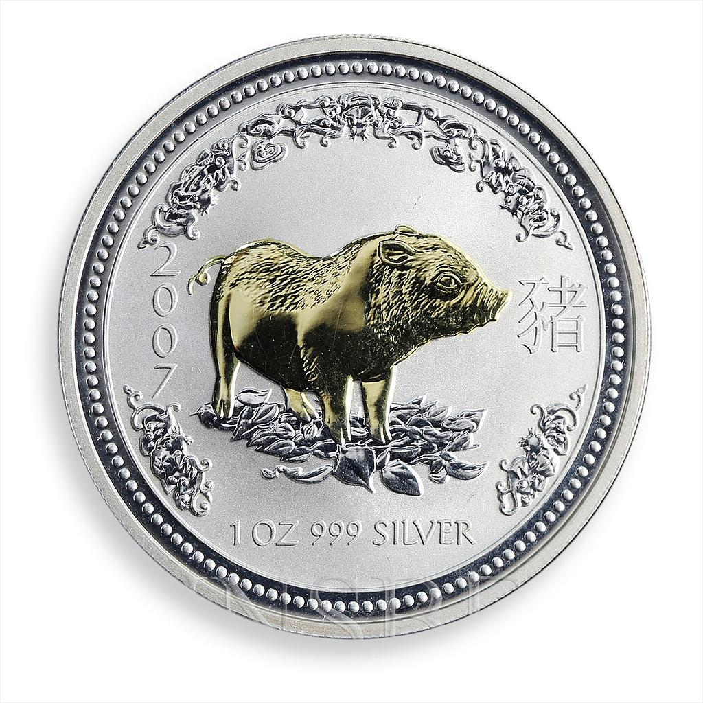 Australia 1 dollar Year of the Pig Lunar Series I 1 Oz Silver Gilded coin 2007