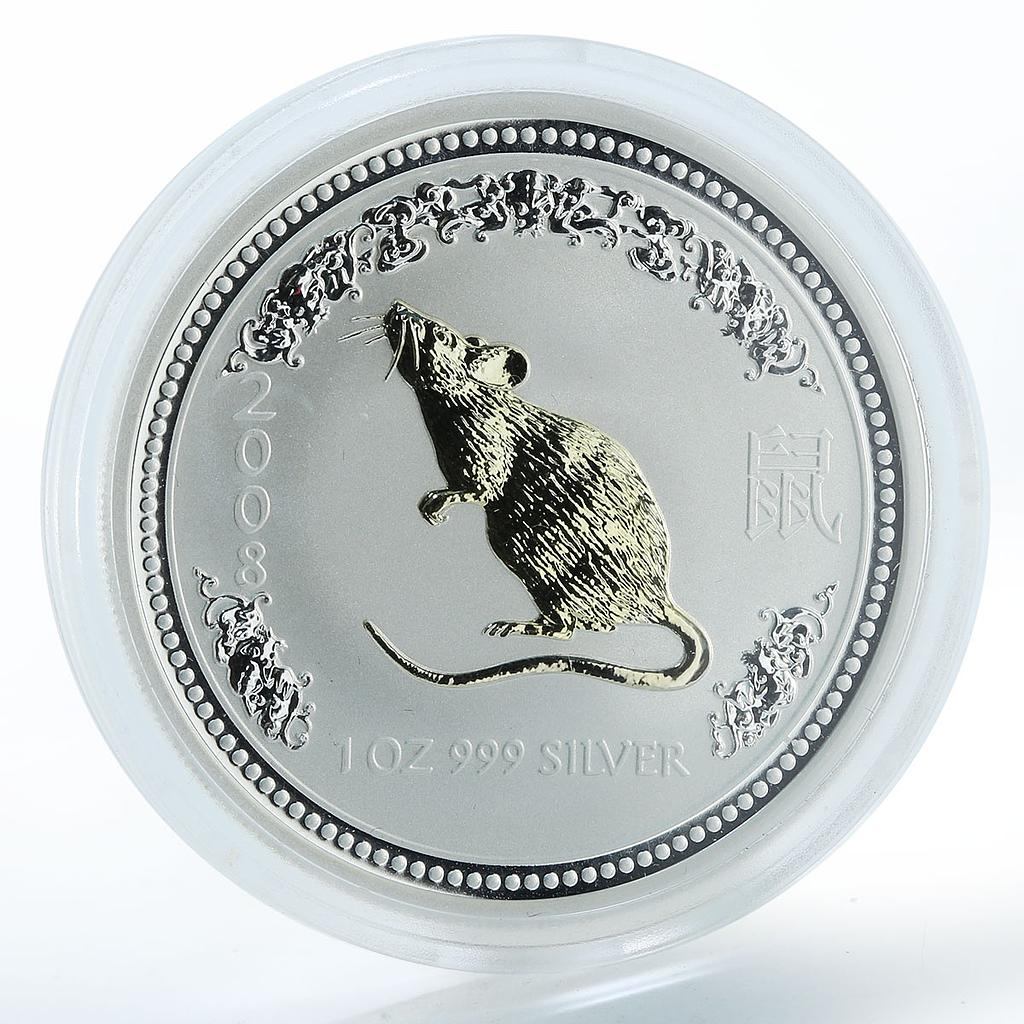 Australia 1 dollar Year of the Mouse Lunar Series I Silver Gilded Coin 2008
