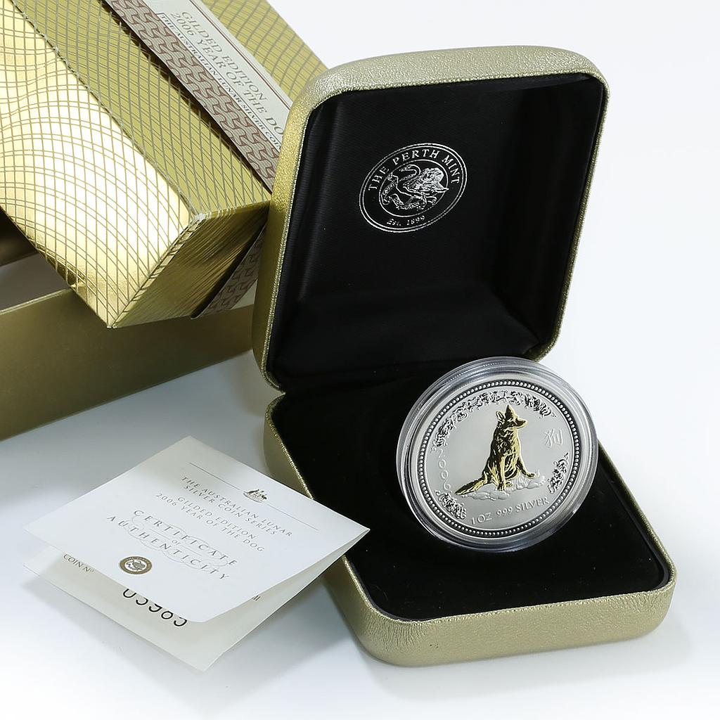 Australia 1 dollar Year of the Dog Lunar Series I 1 Oz Silver Gilded Coin 2006