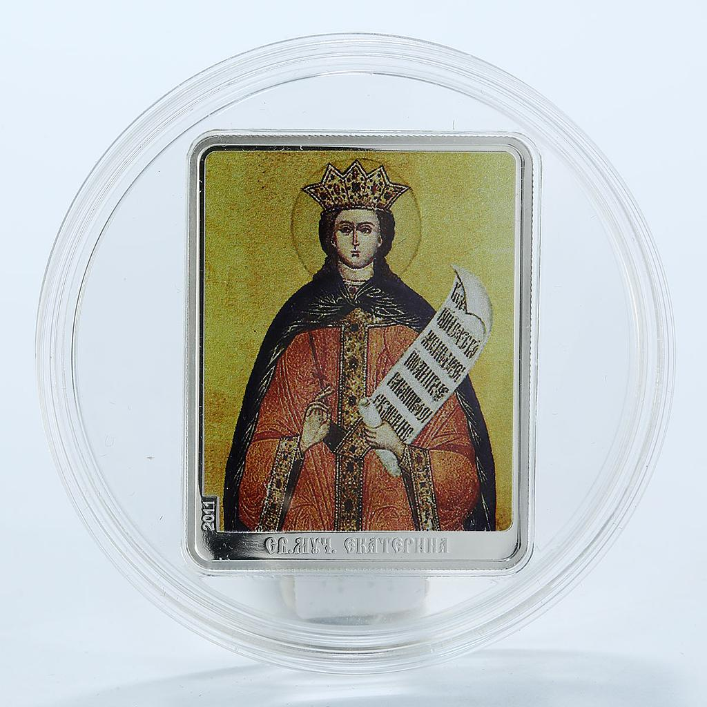 Cook Islands 5 dollars Patron Saints St. Martyr Catherine Icon silver proof 2011