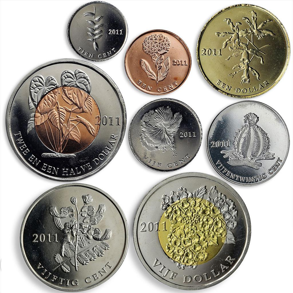Bonaire, set of 8 coins, Flora, Flowers, Cactus, Plants 2011