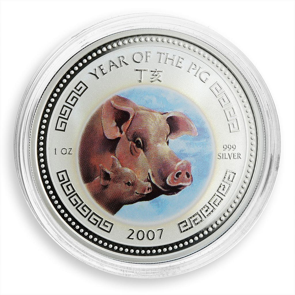 Cambodia 3000 riels Year of the Pig Lunar Be attentive to your family coin 2007