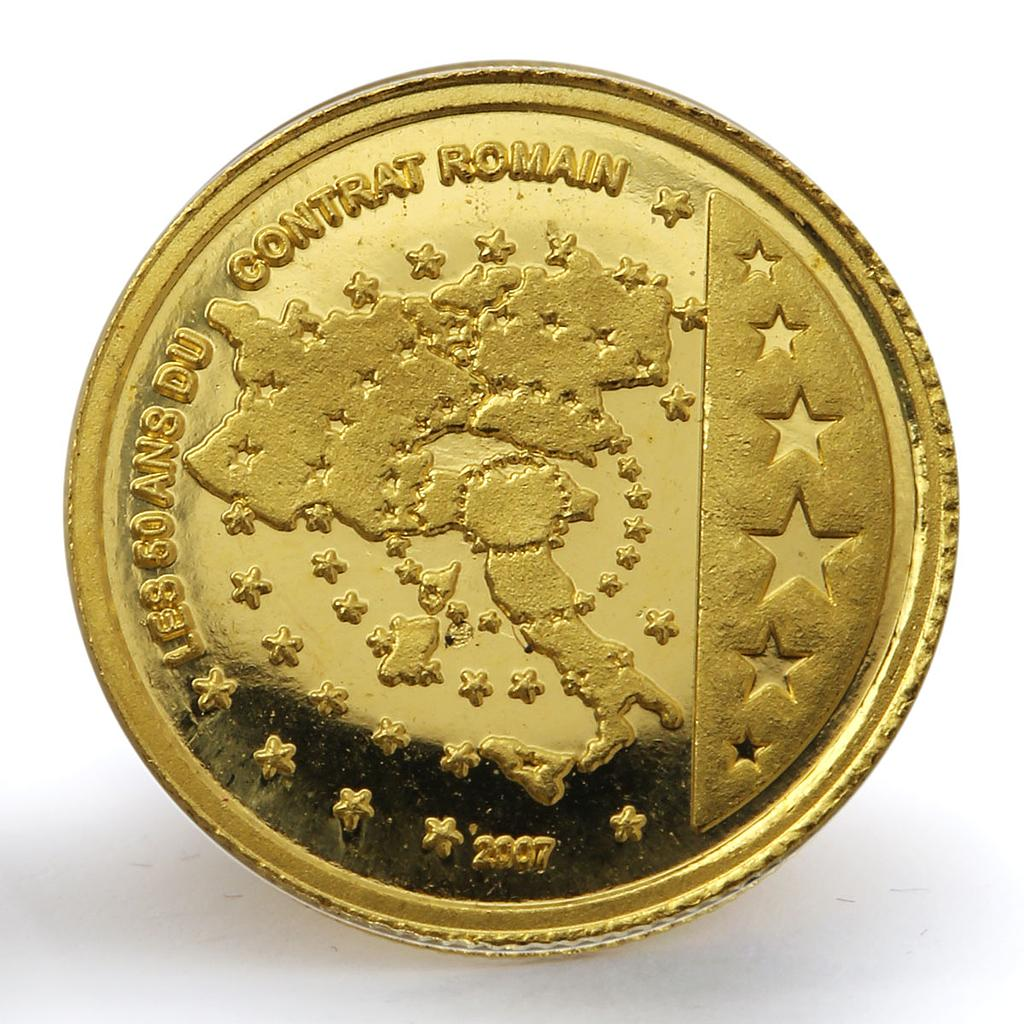 Congo 1500 francs 50th Anniversary Treaty of Rome Map Italy Stars gold coin 2007