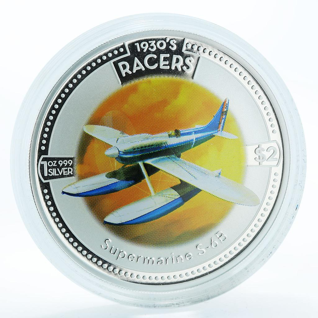 Cook Islands 2 dollars Supermarine S-6B airplane silver coin 2006