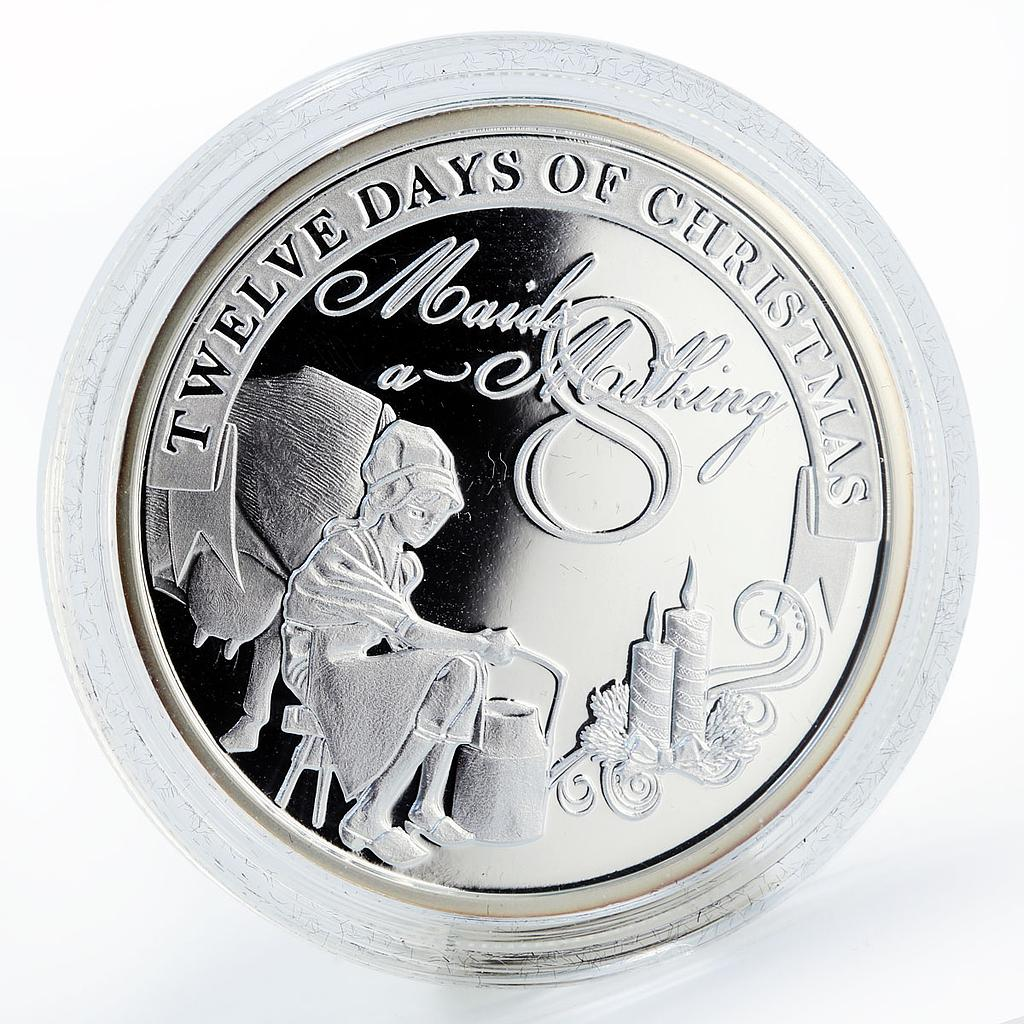 Niue 2 dollars Christmas Maids a Milking proof silver coin 2009