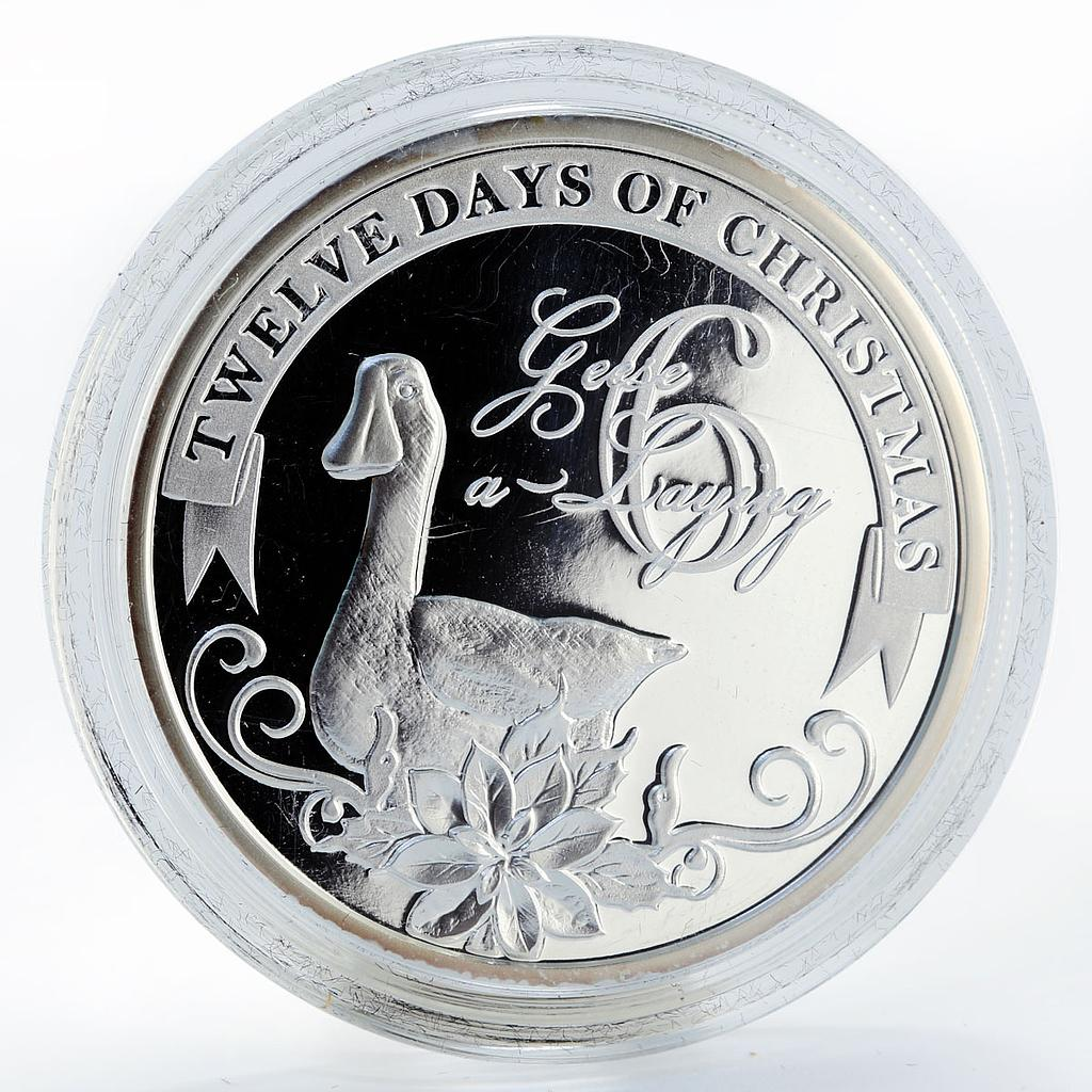 Niue 2 dollars Christmas Geese a Laying proof silver coin 2009