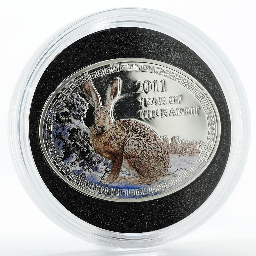 Niue 1 dollar Year of the Rabbit colored silver coin 2011
