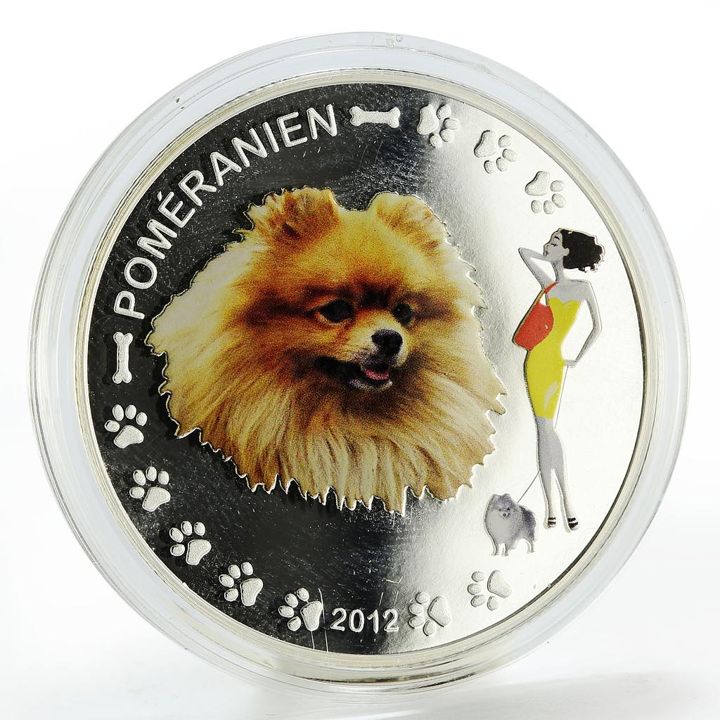 Benin 1000 francs Pomeranian dog colored silver coin 2012
