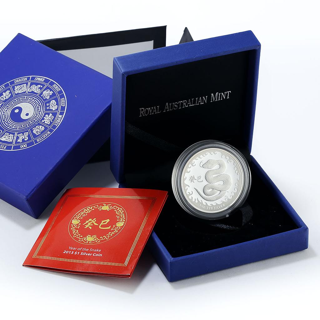 Australia 1 dollar Year of the Snake proof silver coin 2013