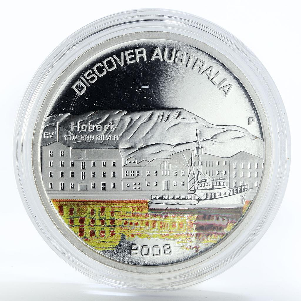 Australia 1 dollar Discover Hobart ship colored silver coin 2008