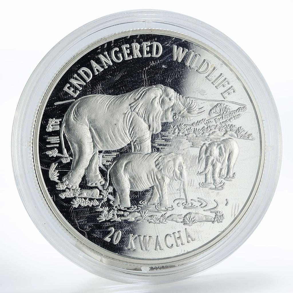 Malawi 20 kwacha Endangered Wildlife Elephant proof silver coin 1996
