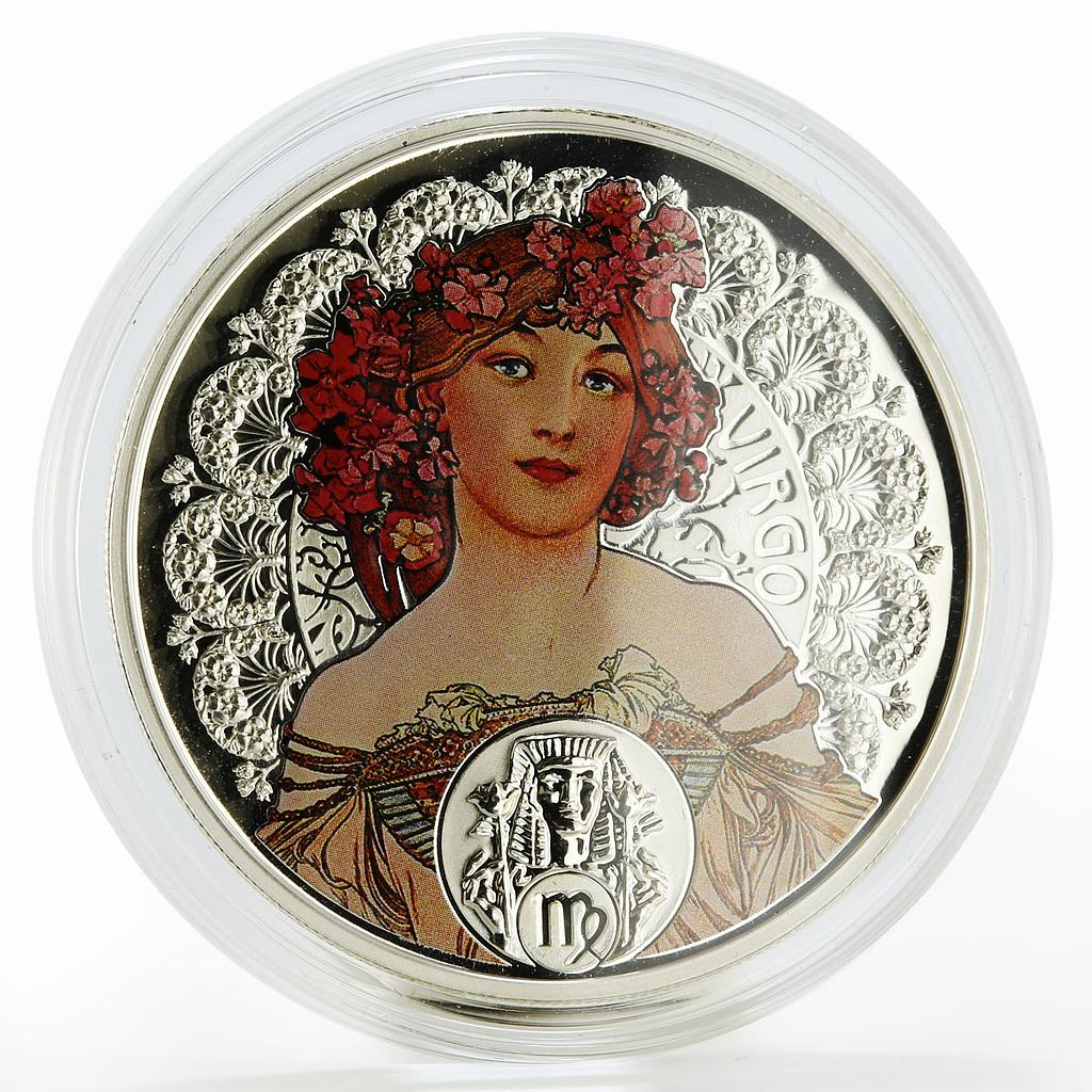 Niue 1 dollar A. Mucha Zodiac Series Virgo colored silver coin 2011